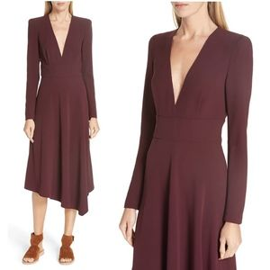 alc • loyola bordeaux long sleeve hi lo midi dress